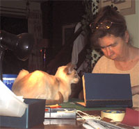 "Binding a book with my ""supervisor"" looking on!"