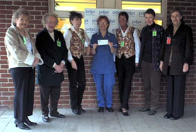 Presenting the cheque.