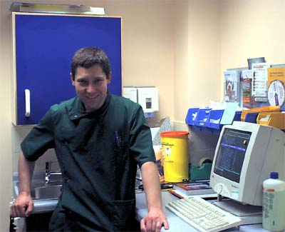 One of the consulting rooms with veterinary surgeon Geoff in attendance.