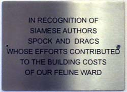 A plaque acknowledging The Boys fundraising efforts