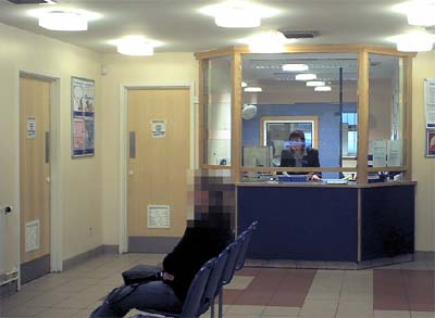 Reception area, showing the reception desk