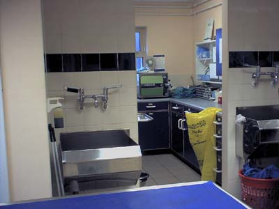 Entrance to a small operating theatre.