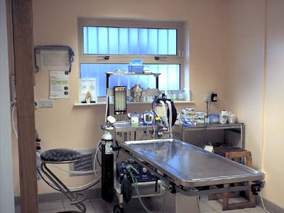 Inside the small operating theatre.