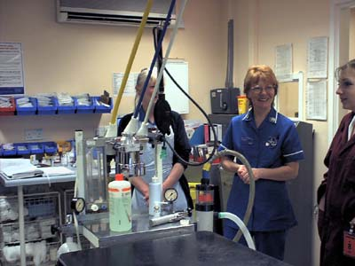 The large operating theatre and some of the hospital's staff.