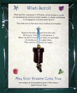 A wish scroll in its packaging
